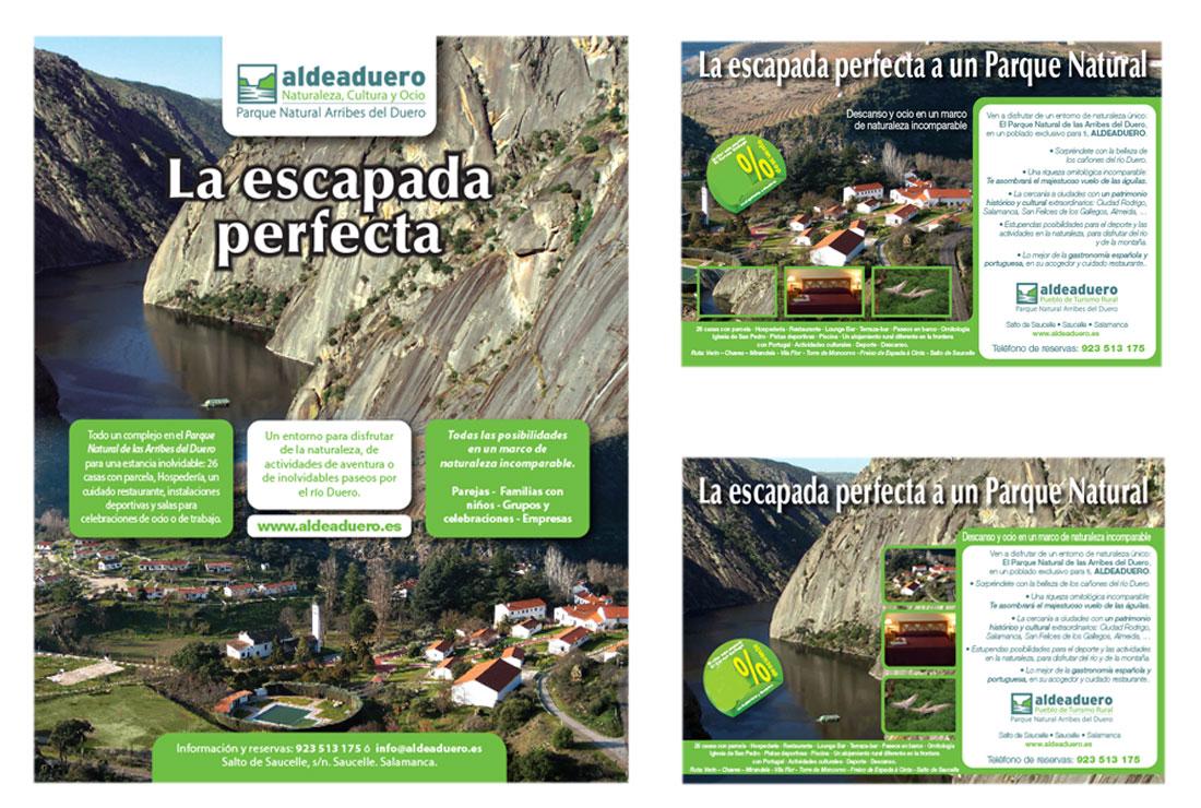 Originales de página y media página de la campaña de publicidad de ALDEADUERO