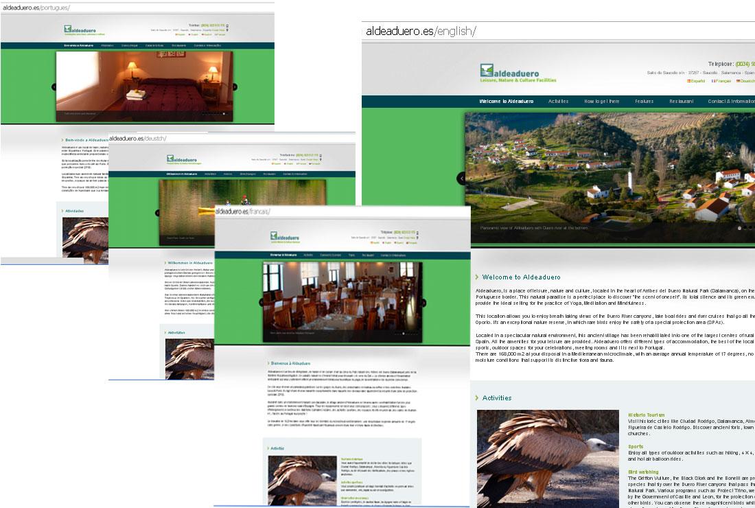 Versiones en inglés, francés, alemán y portugués de la web de ALDEADUERO