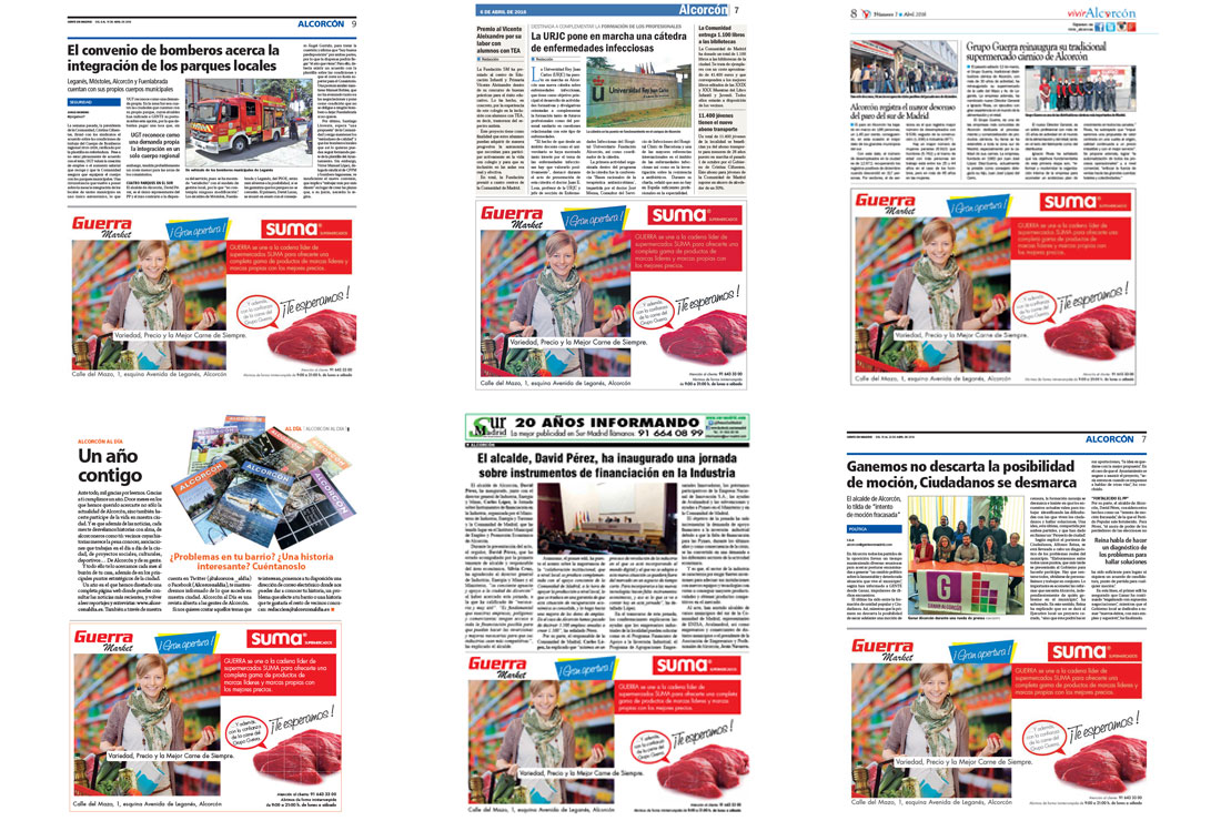 Anuncios campaña publicidad por la reapertura del supermercado Guerra Market