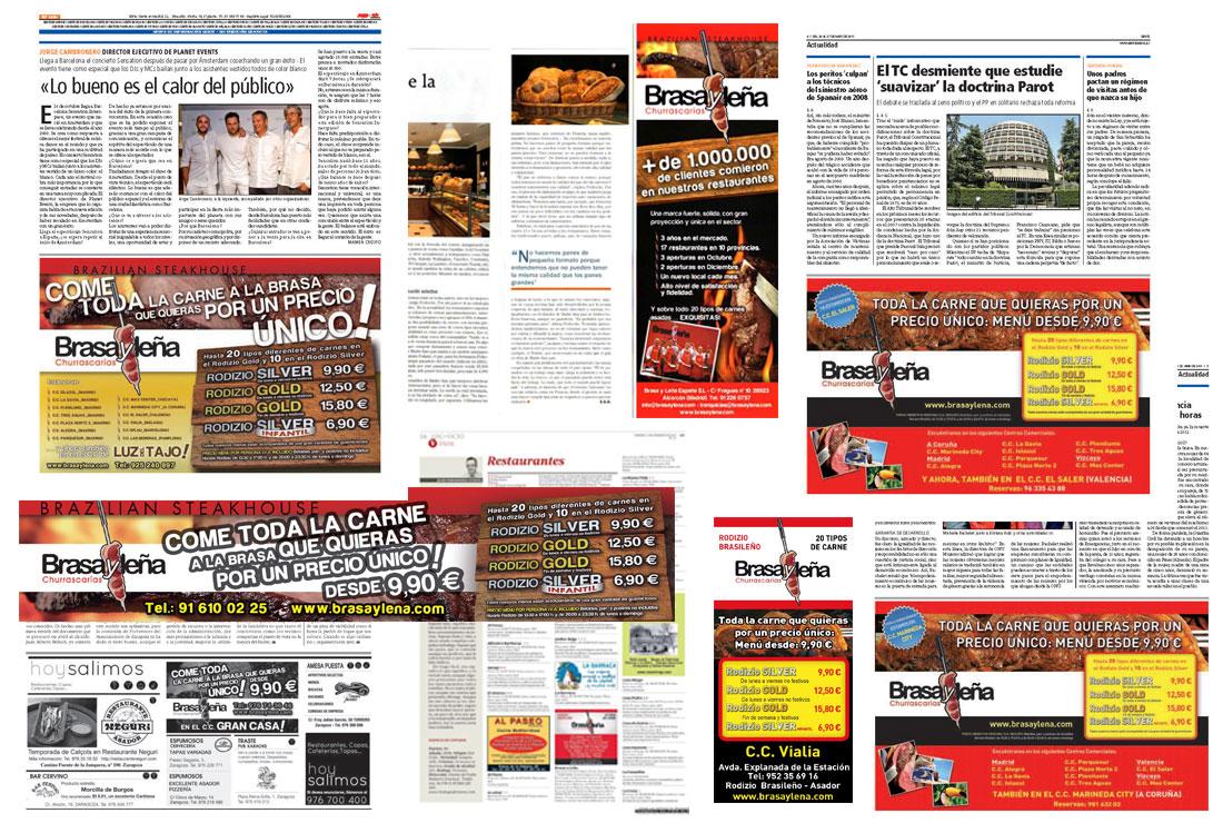 Anuncios publicados en prensa de BRASAYLEÑA