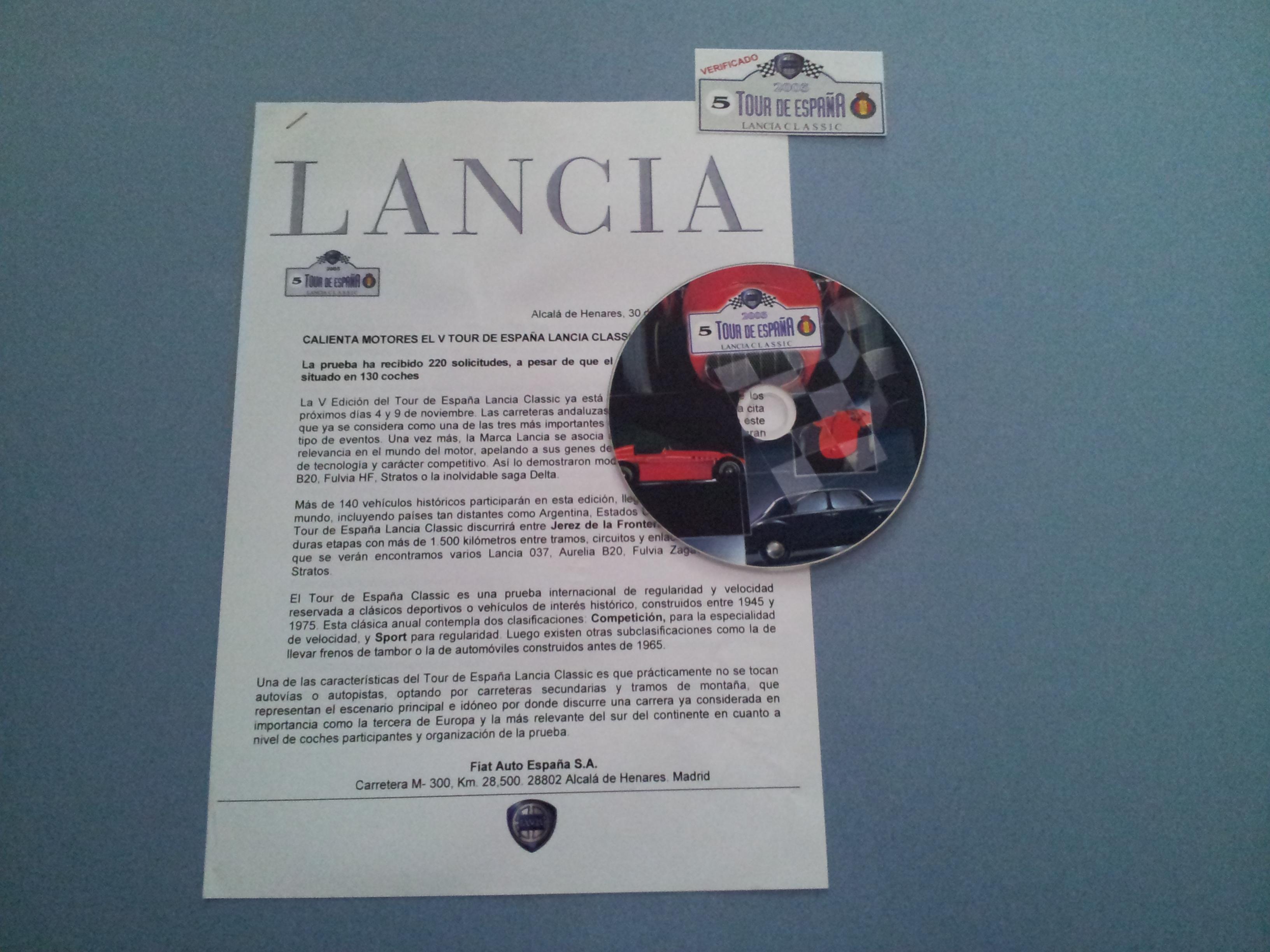 Comunicado de prensa Tour de España Lancia Classic