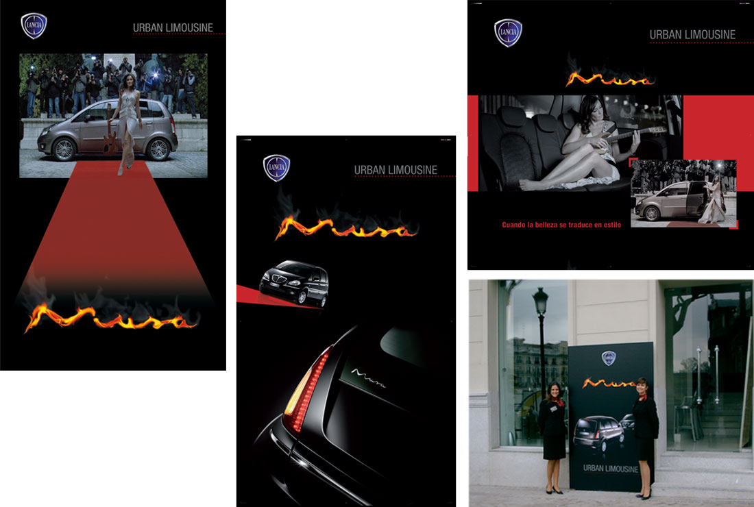 presentación lancia musa urban limousine: cartelería y azafatas