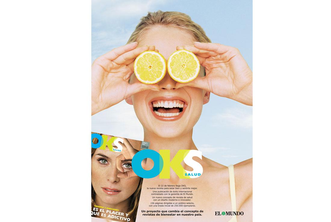 Anuncio OKS Salud limones. Campaña de publicidad lanzamiento revista OKS Salud