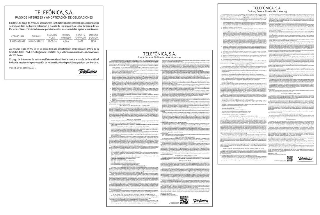 Anuncios Oficiales de Telefónica de 2014