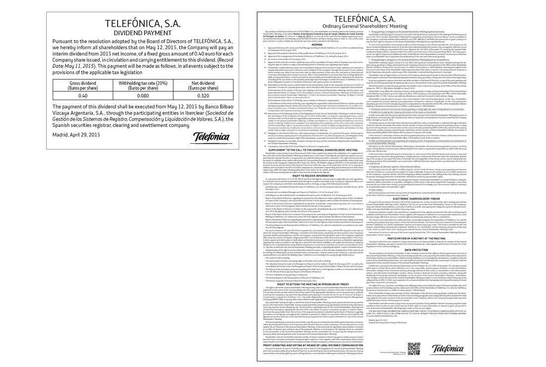 Anuncios Oficiales de Telefónica de 2015